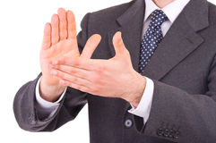 Businessman clapping his hands. Royalty Free Stock Photos