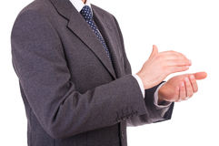 Businessman clapping his hands. Royalty Free Stock Photo