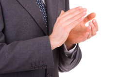 Businessman clapping his hands. Royalty Free Stock Images