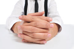 Businessman with clasped hands Stock Photos