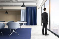 Businessman in clean meeting room stock photos