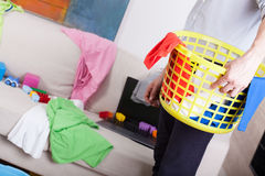 Businessman cleaning up home Stock Photos