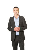 Businessman with clenched hands Royalty Free Stock Photo