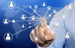 Businessman clicking connection icon stock photos