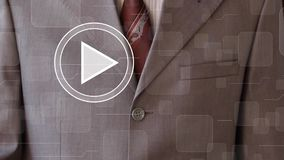 Businessman clicks play button 24 hours service business stock video footage