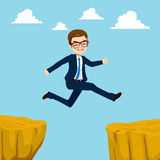 Businessman Cliff Gap Royalty Free Stock Photography