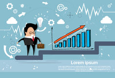 Businessman Climb Financial Bar Graph Business Man Growth Chart Stock Photos
