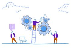 Businessman climb ladder engineer wrench control gear wheel processing mechanism support teamwork concept on horizontal. Sketch doodle vector illustration royalty free illustration