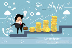 Businessman Climb Stairs Financial Success Business Man Growth Chart. Flat Vector Illustration Royalty Free Stock Images