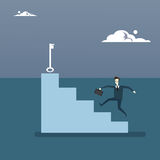 Businessman Climb Stairs Up To Key Business Man Growth New Successful Idea Concept Royalty Free Stock Images