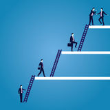 Businessman climb success ladder. Vector illustration. Personal career development concept. Future success. first step. Businessman start climbing stair for Royalty Free Stock Photo