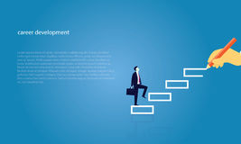 Businessman climb success ladder. Vector illustration. Personal career development concept. Future success. first step. Businessman start climbing stair for Stock Images