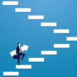 Businessman climb success ladder. Vector illustration. Personal development concept. Future success. first step. Businessman start climbing stair for successful Royalty Free Stock Images
