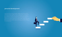 Businessman climb success ladder. Vector illustration. Personal development concept. Future success. first step. Businessman start climbing stair for successful Stock Images