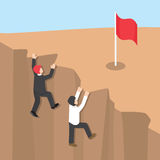 Businessman climb up the cliff to reaching his success Royalty Free Stock Images