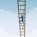 Businessman Climb Up Ladder Stairs, Concept. Business Man Sky Clouds Flat Vector Illustration Royalty Free Stock Photo