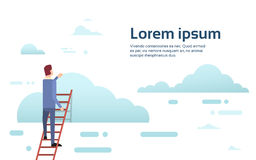 Businessman Climb Up Ladder Stairs, Concept Business Man Sky Clouds Royalty Free Stock Image