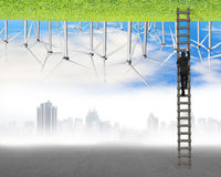 Businessman climb on wood ladder between two inverted world Royalty Free Stock Image