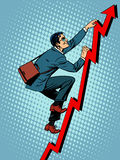 Businessman climber is climbing up. According to the schedule of sales pop art retro style vector illustration