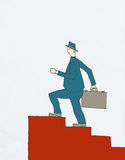 Businessman Climbing. Older Businessman in blue suit is climbing red staircase holding briefcase Stock Images