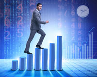 The businessman climbing bar charts in business concept Stock Image