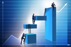 The businessman climbing blocks in career ladder business concept Royalty Free Stock Photo