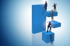 The businessman climbing blocks in career ladder business concept Royalty Free Stock Images