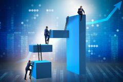 The businessman climbing blocks in career ladder business concept Stock Photography