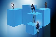 The businessman climbing blocks in challenge business concept. Businessman climbing blocks in challenge business concept Stock Photography