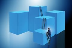 The businessman climbing blocks in challenge business concept. Businessman climbing blocks in challenge business concept Royalty Free Stock Images