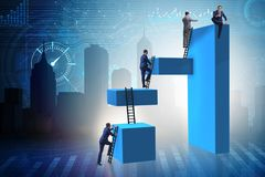 The businessman climbing blocks in challenge business concept. Businessman climbing blocks in challenge business concept Stock Images
