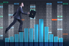 The businessman climbing career ladder as trader broker Royalty Free Stock Photos