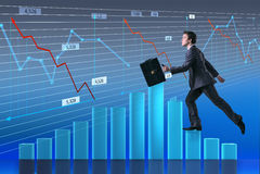 The businessman climbing career ladder as trader broker Royalty Free Stock Image