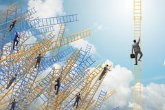 The  businessman climbing career ladder in business concept Royalty Free Stock Photo