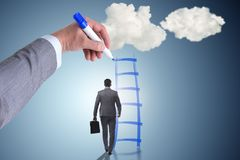 The businessman climbing career ladder in business concept Royalty Free Stock Image