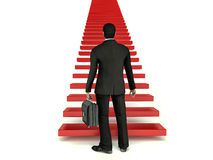 Businessman climbing the career ladder isolated on white backgro Royalty Free Stock Photography