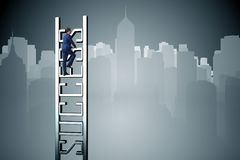 The businessman climbing the career ladder of success Royalty Free Stock Photography