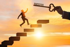 The businessman climbing the career ladder of success. Businessman climbing the career ladder of success Stock Image