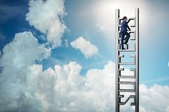 The businessman climbing the career ladder of success Stock Image
