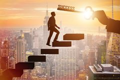 The businessman climbing the career ladder of success Stock Photos