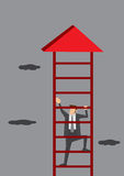 Businessman Climbing Corporate Ladder Royalty Free Stock Photography