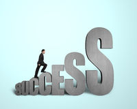 Businessman climbing on  3d word Stock Images