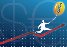 Businessman climbing graph with currency baloon. Businessman climbing graph over dollar and euro sign with a baloon displaying Yuan word. Clear domination of the Stock Photography