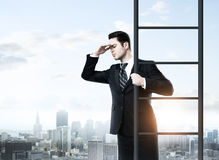 Businessman climbing on ladde Stock Image