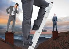 Businessman climbing ladder and Businessmen standing on Roofs with chimney and colorful landscape Stock Photos
