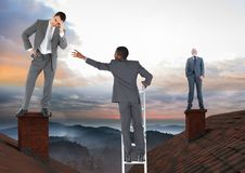 Businessman climbing ladder and Businessmen standing on Roofs with chimney and colorful landscape Stock Photography