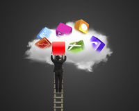 Businessman climbing ladder getting blank red icon from cloud. Stock Photo