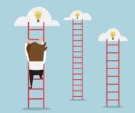 Businessman climbing the ladder Stock Photo