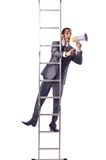 Businessman climbing  ladder isolated on white Royalty Free Stock Photography