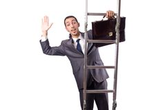 Businessman climbing  ladder isolated on white Royalty Free Stock Photo